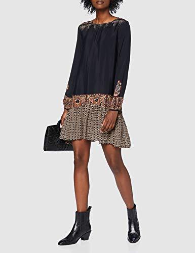 Desigual Vest_Praga Vestido Casual, Negro, L para Mujer