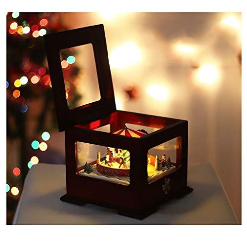 Cajas Musicales Caja de música Caja de música carrusel, Caja de cambios de color de lujo cuadrada Caja de música luminosa, mejor regalo de cumpleaños for niños, chicas, amigos regalo de cumpleaños