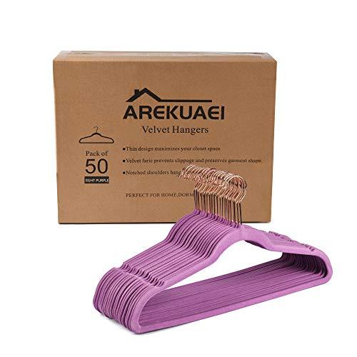 AREKUAEI Light Purple Velvet Hangers Pack of 50 Heavyduty - Non Slip - Velvet Suit Hangers - CopperRose Gold HooksSpace Saving Clothes Hangers…