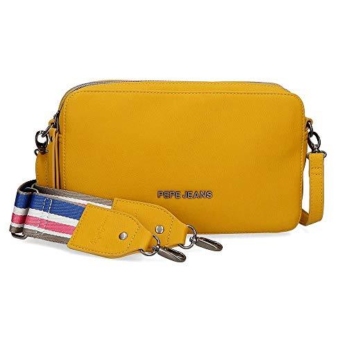 Pepe Jeans Eva Bandolera Dos Compartimentos Amarillo 25x18x6,5 cms Piel Sintética