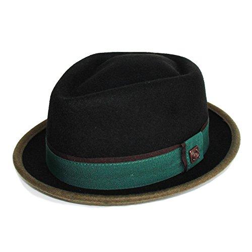 DASMARCA Edward Nero/Verde Porkpie Inverno Cappello di Lana - XL