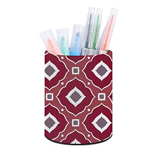 Soporte para bolígrafos, soporte para lápices, organizador de escritorio, organizador de maquillaje, para oficina, aula, hogar, estilo marroquí, inspirado en burdeos y gris pardo