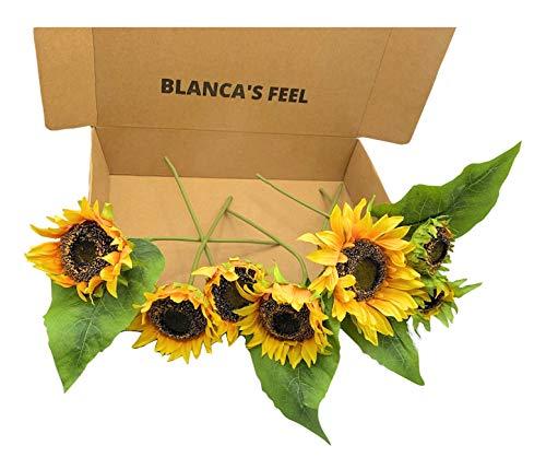 Flores de Girasol Artificial diseño Realista, 7 Tallos Ideal para decoración 35 cm.