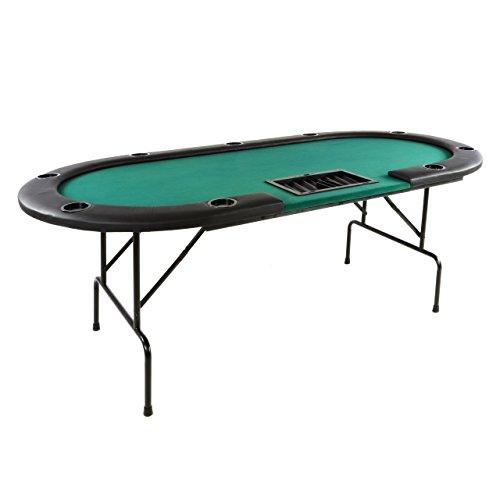 Nexos Deluxe Casino Pokertisch klappbar L 215 x B 113 x H 79 cm, Getränkehalter Armlehnen Chiptray grüne Pokerauflage Klapptisch für 10 Spieler