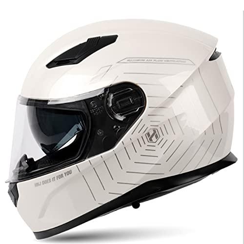 Casco Moto Modular con Doble Visera Integral Scooter Dot/ECE Homologado para Adultos con Doble Visera Anti-rasguños y Protección Rayos UV Mujer Hombre Adultos 54-61CM,White 6,XL