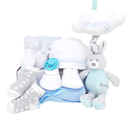 Mi Música Mabybox de Mababy – Canastilla de regalos para bebé personalizada con colgador musical de peluche y chupete retro – Regalo personalizado con el nombre del bebé. (Azul)
