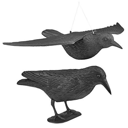 WELLGRO 2 x Vogelschreck - 1 x Krähe sitzend & 1 x Krähe fliegend - Kunststoff, schwarz