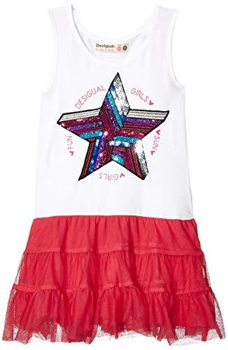 Desigual Mädchen Girl Knit Dress Straps (Vest_SWAN) Kleid, Rot (Pink Fuschia 3022), 128 (Herstellergröße: 7/8)