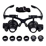 Watch Repair Magnifier Glasses - Headband Magnifying Glasses with Lightand 4 Interchangeable Lens 10X 15X 20X 25X for Jewelry Clock Repair (#1)