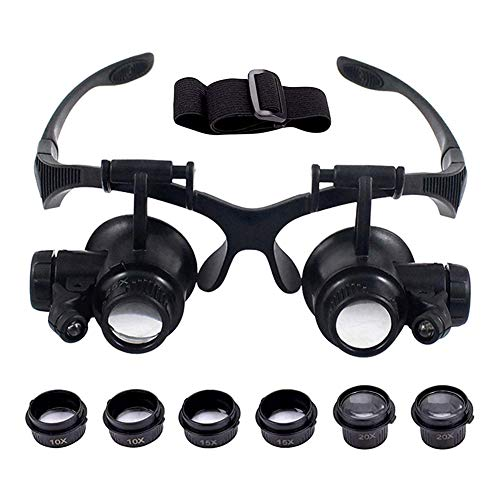Head Mount Magnifier Vcedas Professional Watch Repair Magnifier Upgraded Version Double Eye Jewelry Loupe 10x 15x 20x 25x Headband Magnifier with LED Light for Jewelry(Close Observation with One Eye)