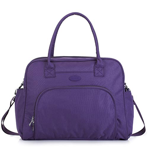 Lily & Drew Carry On Weekender Overnight Travel Shoulder Bag for 15.6 Inch Laptop Computers for Women (Purple)