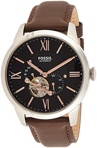 Fossil Men's Townsman Automatic Stainless Steel and Leather Two-Hand Subeye Watch, Color: Silver, Brown (Model: ME3061)