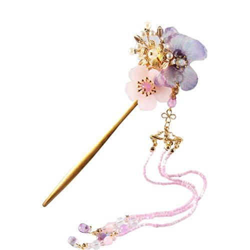 Lurrose Bâton de Cheveux Avec Papillon Gland Perles Pendentif Vintage Epingles à Cheveux Chinois Pic à Cheveux Décoration pour Femmes Filles