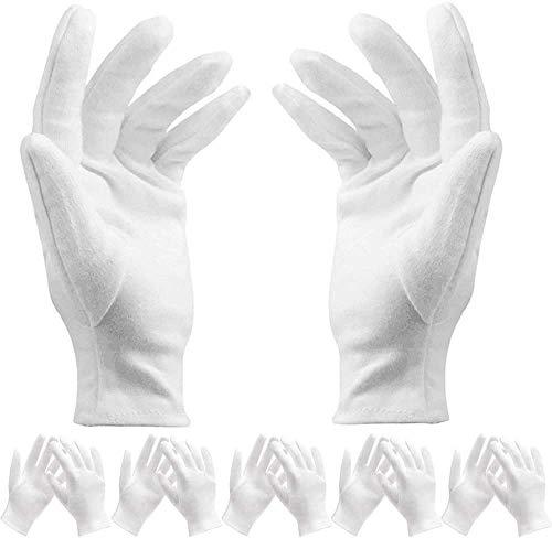 BESTZY 12 Paar weiß Baumwolle Handschuhe/Baumwollhandschuhe - Kosmetik Feuchtigkeitsspendende Handschuhe für trockene Hände,Neurodermitis,Schönheit, Münze,Schmuck und Silber Inspektion - Unisex