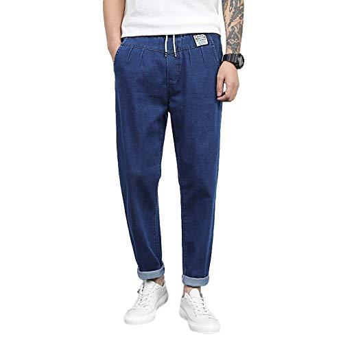 Beastle Pantalones Vaqueros para Hombre Tendencia de Primavera Pantalones Harem Sueltos Pantalones de Mezclilla de Cintura elástica con cordón de Todo fósforo Informal 33W