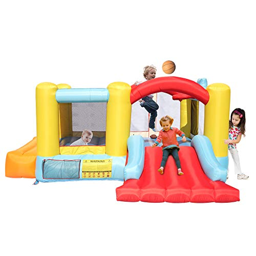 Civigrape Inflatable Bounce House with Inflator, Jumping Bouncing Castle Indoor/Outdoor, Jumping Area and Slide, Basketball Hoop, Basketball, Football, Rugby Included