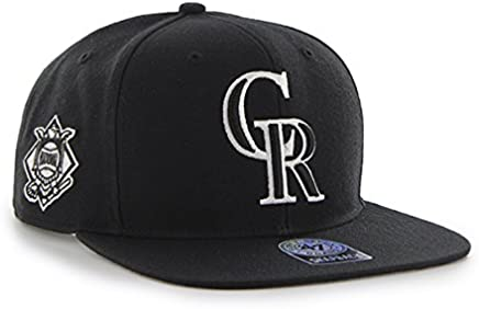 e892141616d Colorado Rockies MLB Black Sure Shot 47 Brand Captain Wool Flat Bill  Snapback Hat
