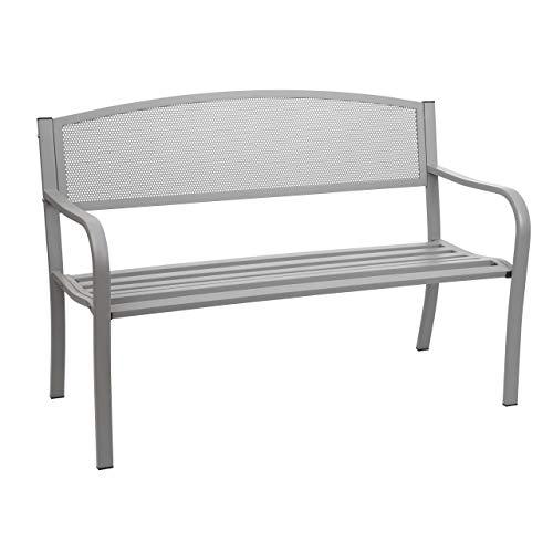 Mendler Gartenbank HWC-F52, Bank Parkbank Sitzbank, 2-Sitzer pulverbeschichteter Stahl ~ grau