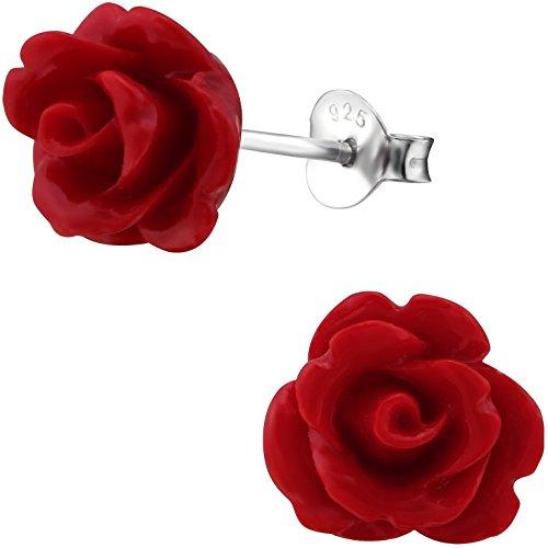 EYS JEWELRY Ohrstecker Damen Rosen-Blüte Blume 925 Sterling Silber rot Damen-Ohrringe