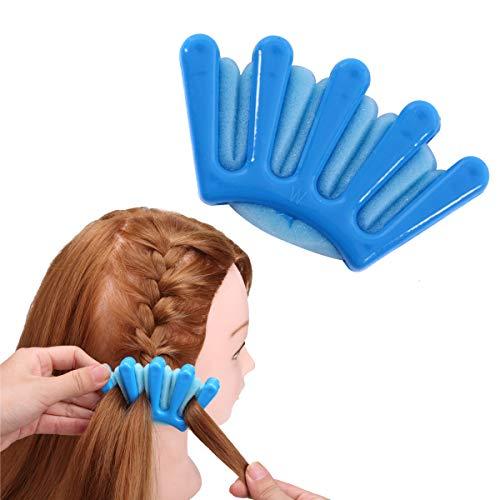 1pc éponge Cheveux Tresser Multifonction Cheveux Tressage Outil Français Twist Plait Cheveux Tresser Palm En Forme De Bricolage Accessoires De Cheveux (Bleu)