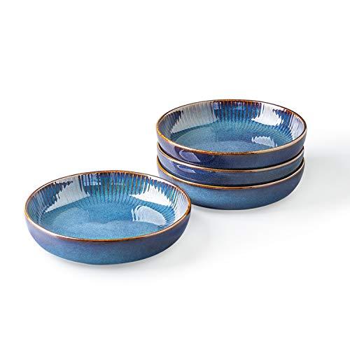 CSYY Pastateller aus Keramik, Groß Suppenteller Oder Speiseteller, Premium Porzellan 21cm Blau(4PCS)