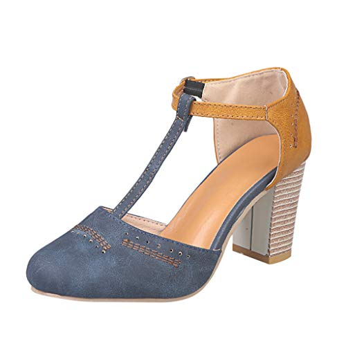 BaZhaHei Zapatos de Mujer Cabeza Redonda de Mujer con Sandalias de tacón Alto Moda para Mujer Roma Ronda Toe Hebilla Correa Sandalias Tacón Grueso Zapatos de tacón Alto