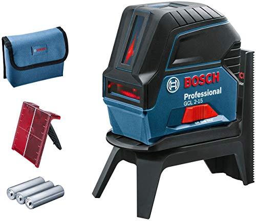 Bosch Professional Nivel láser GCL 2-15, Láser rojo, puntos de plomada, alcance: 15 m, 3 pilas AA, soporte giratorio RM 1 Professional, placa reflectora de medida del láser, funda