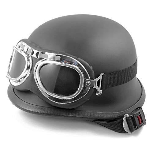 DJCALA Motorfiets Jet Halve Helm Goggles Quick Release Gesp Open Gezicht Retro Halley Fietshelmen voor Heren Vrouwen voor Bike Cruiser Chopper Bromfiets Scooter ATV
