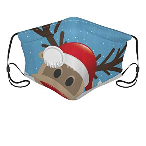 Adjustable Face Covers with Breathing Valve and 2 Filters,Reindeer Rudolph With Red Nose And Santa Claus Hat Snowy Forest Reusable Mouth Shield Balaclavas Scarf for Unisex