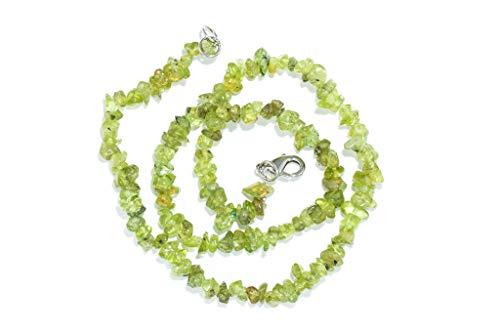 Taddart Minerals – Collar de piedra preciosa natural peridoto verde con 45 cm de longitud – hecho a mano