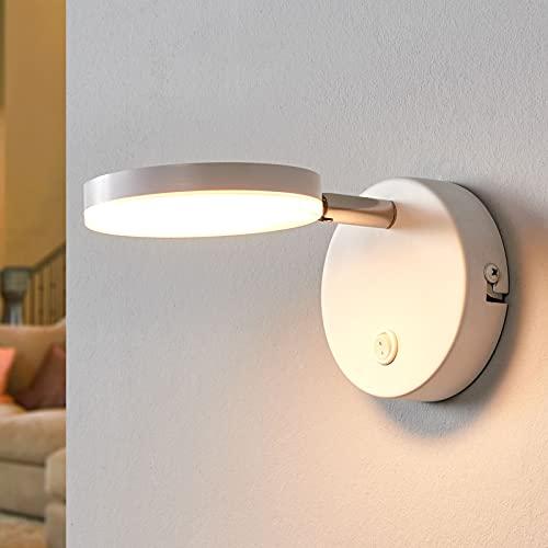 Lindby LED Wandleuchte, Wandlampe Innen 'Milow' (Modern) in Weiß u.a. für Wohnzimmer & Esszimmer (1 flammig, A+, inkl. Leuchtmittel) - Wandstrahler, Wandbeleuchtung Schlafzimmer /
