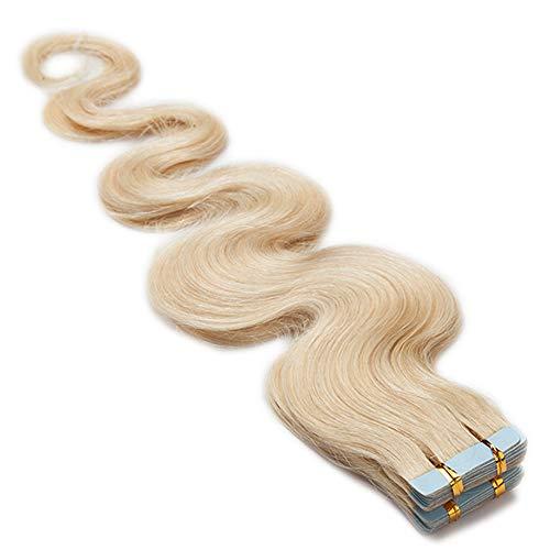 TESS Tape Extensions Echthaar Klebeband Haarverlängerung 16 Inch 20pcs Gewellt Remy Tape in Hair Extensions Weißblond (#60 40cm-50g)