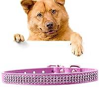 ペット用品 ペットロープPUダイヤモンドスタッズ首輪犬の首輪ペット製品、サイズ:M、2 * 42センチメートル(ブラック) ペットの安全 人格はペットをドレスアップ (色 : ピンク)