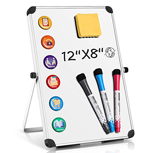 Homemaxs Dry Erase White Board Small, 12  x8   Portable Magnetic Dry Erase Board with Stand ,3 Markers, 6 Task Magnets & Eraser,Double-Sided Desktop Small White Boards for Students,Kids,Home,School