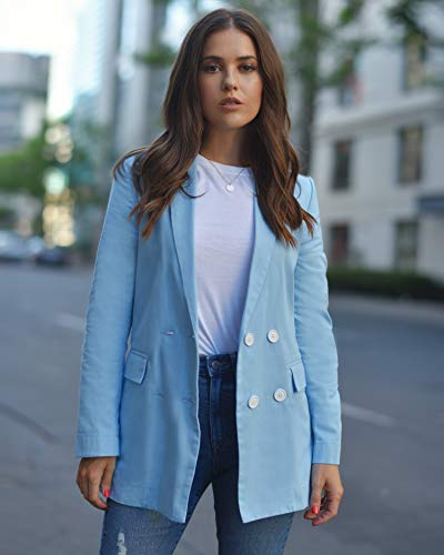 The Drop Women's Airy Blue Loose-Fit Double Breasted Blazer by @paolaalberdi