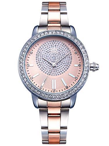 Alienwork Reloj Mujer Relojes Acero Inoxidable Plata Analógicos Cuarzo Oro Rosa Impermeable Strass Purpurina Elegante
