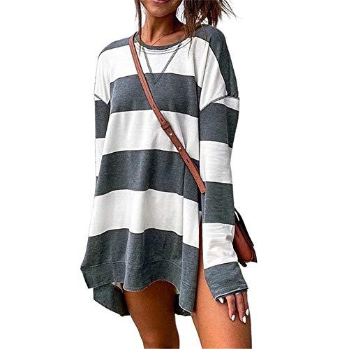 SMTM Damenhemd Band Top Print Split Bluse Langarm Pullover Damen Sweatshirt (M, grau)