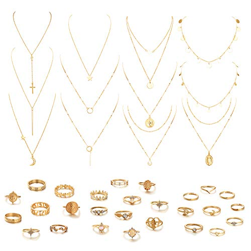 Udalyn 39 PCS Multiple DIY Layered Choker Necklace Rings Set for Women with Sexy Coin Moon Star Multilayer Choker Chain Y Necklaces Set Adjustable Gold Bar Pendant Pendent Necklace Sets