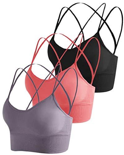 CMTOP Sujetador Deportivo Mujer con Relleno Extraíble Top Sujetadores Deportivos Yoga sin Costuras Sujetador de Dormir Ropa Interior con Tirantes Elásticos