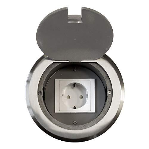 Einbausteckdose Fußbodensteckdose Steckdose Edelstahl für Boden & Wand versenkbar überfahrbar (Steckdose rund)