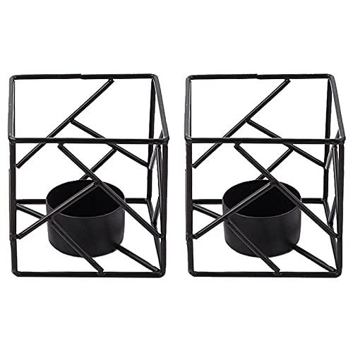 DASNTERED Portavelas de hierro forjado hueco cuadrado candelabro boda té luz votiva mesa de comedor decoración del hogar cuadrado geométrico