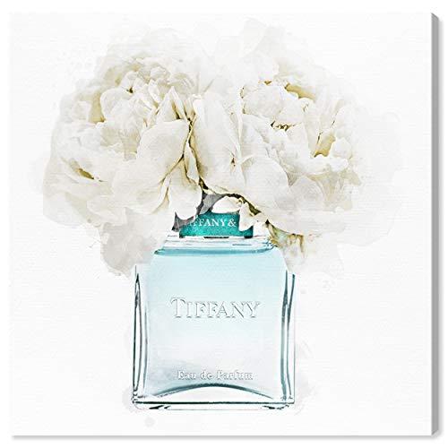 "The Oliver Gal Artist Co. Fashion and Glam Wall Art Canvas Prints 'Dawn Morning Bouquet Aquamarine' Perfumes Home Décor, 12"" x 12"", Blue, White"