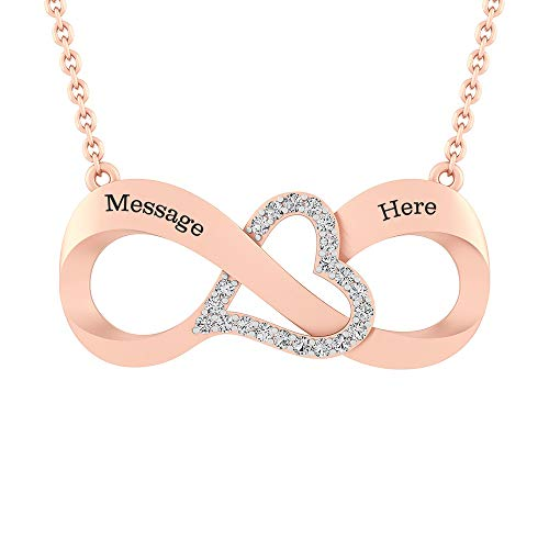 Silvercartvila Couple's Engravable Zijwaarts Oneindigheid Met Hart Ketting (2 Namen) D/VVS1 Diamant 14ct Rose Goud verguld