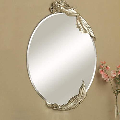 QXHELI Spiegel Cosmetische spiegel muur creatieve moderne Europese, eenvoudige waterdichte tuin ronde badkamers, objecten van decoratie hars welkomstspiegels (kleur: de champagne goud, de grootte: schoonheid)