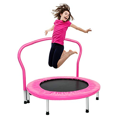 "Binrrio Kids Trampoline, Foldable Small Trampoline for Kids with Safety Handrail 36.6"" Mini Rebounder Trampoline for Kids Indoor & Outdoor Fitness & Play - Pink"