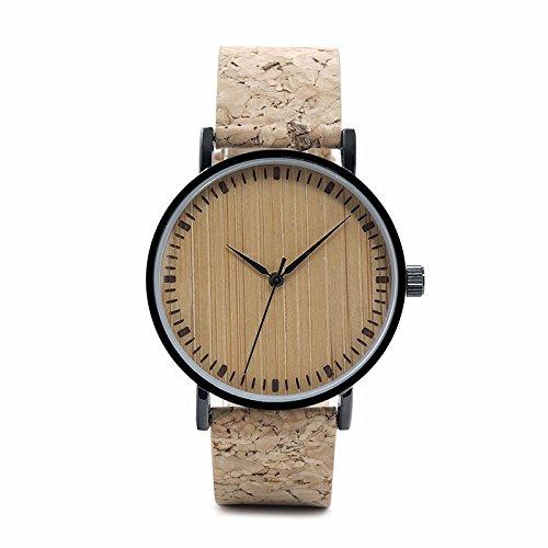 Dxlta Relojes de Madera para Hombres y Mujeres   Correa de Corcho, Casual Reloj de Pulsera Regalos