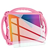 TopEsct Kids case for New ipad 10.2 2020/2019, iPad 8th/7th Generation Case for Kids,with Tempered Glass Screen Protector and Strap,Premium Silicone Shockproof ipad 10.2' 2020/2019 Cover. (Pink)