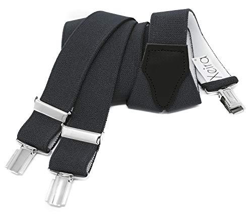 Xeira Hosenträger für Damen stabilen 3 Clips und echt Leder Rückenteil (110cm, Dunkelgrau)