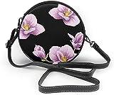 BAODANLA Bolso redondo mujer Purple Flower Multilayer Women Soft Leather Round Shoulder Bag Zipper Circle Purses Sling Bag