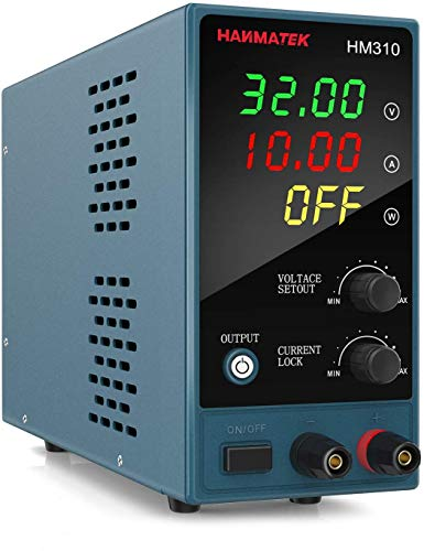 HANMATEK HM310 Mini Adjustable DC Power Supply with Output Enable and Disable Button